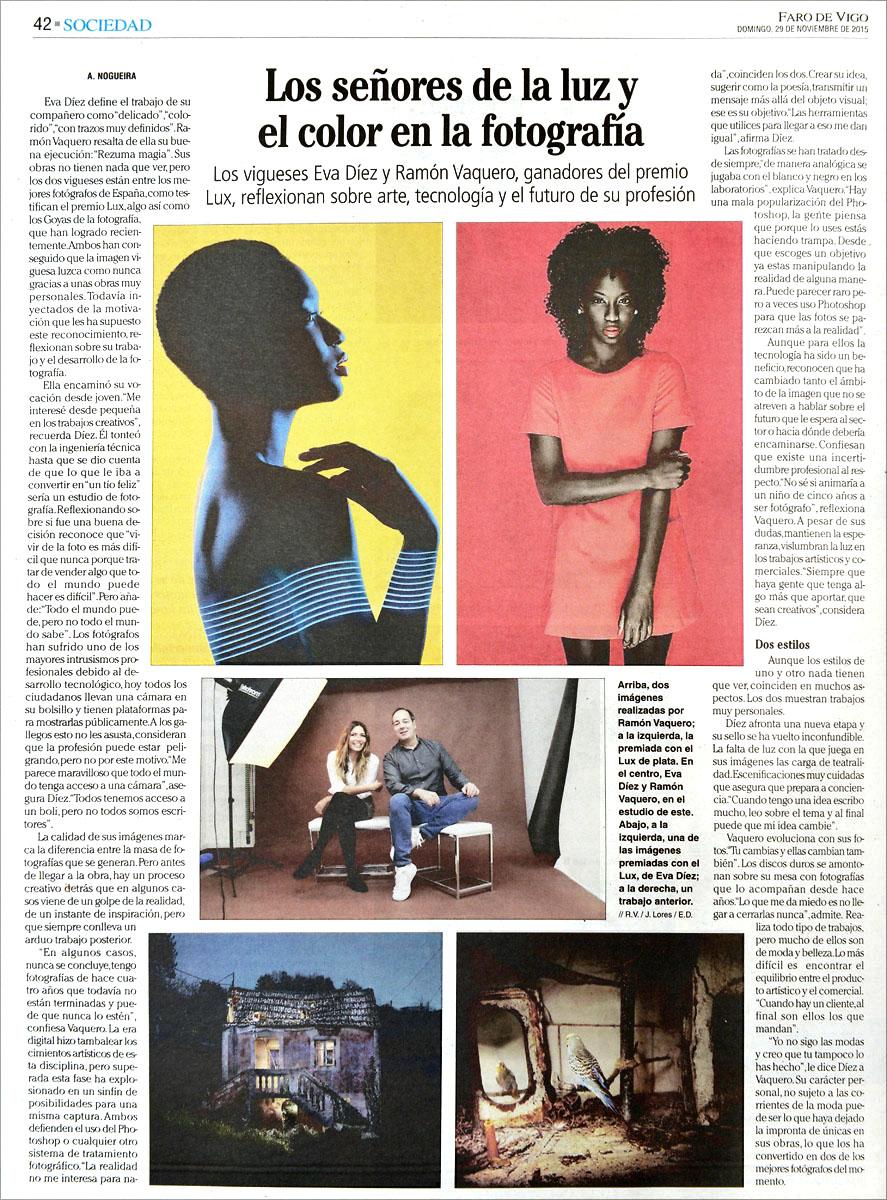 ramon vaquero fotografos entrevista faro de vigo premio lux 2015