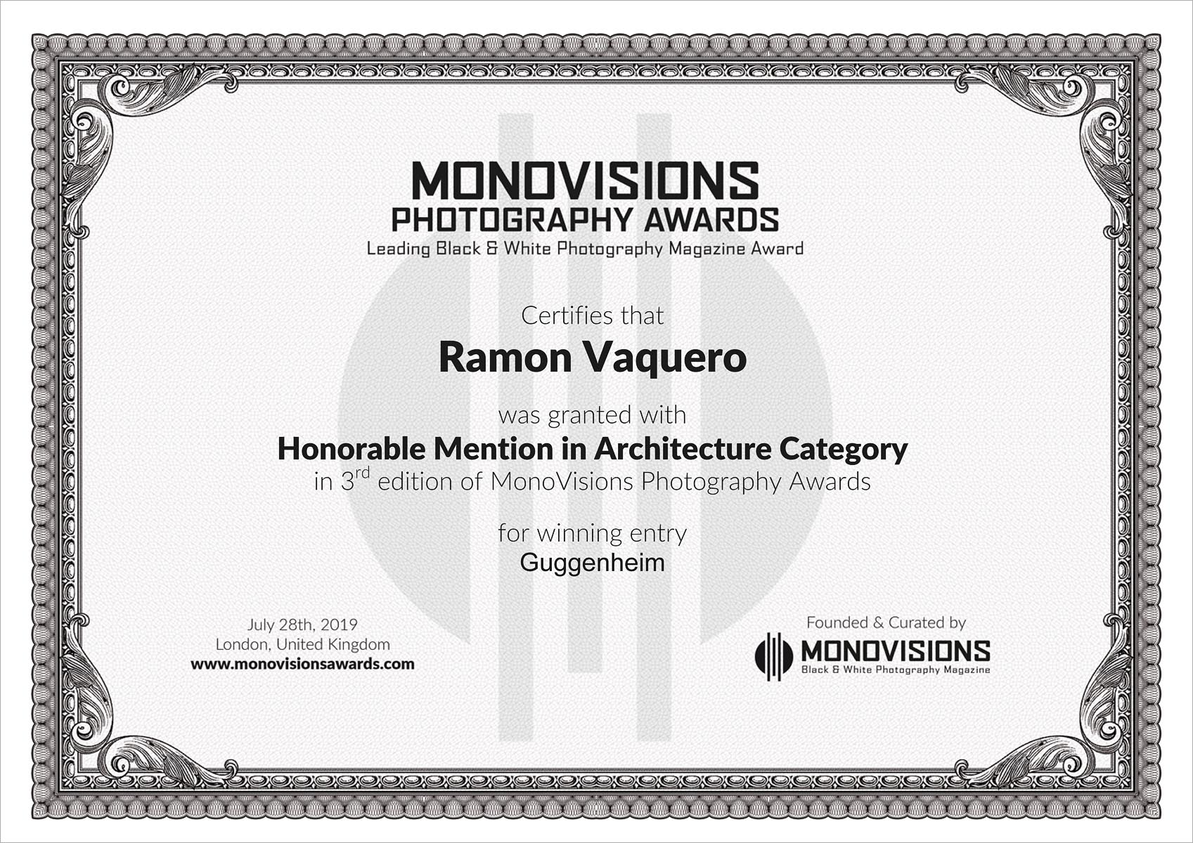 certificate ramon vaquero monovisions
